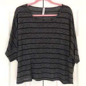 Final Touch Grey/Black Striped Tee Shirt